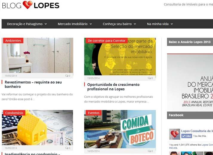 Marketing por conteúdo: Blog da Lopes