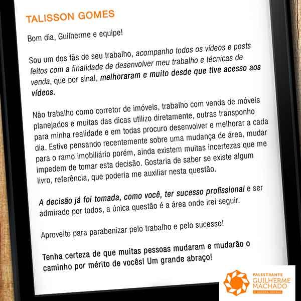Depoimento de Talisson Gomes sobre o conteúdo de Guilherme Machado