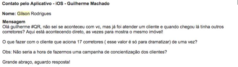 Comentário de leitor do blog através do aplicativo iOS Guilherme Machado